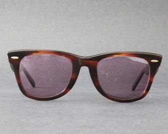 classic 1980s ray ban wayfarer  vintage ray ban wayfarer 2052 wwas tortoise shell with thick brown frame and rx prescription lenses for eyewear sunglasses