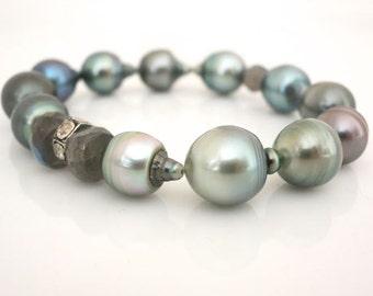 Diamonds on Tahitian pearl bracelet,  pave rosecut diamonds and tahitian pearls, luxury pearl bracelet, fine jewelry, boho beachy gifts