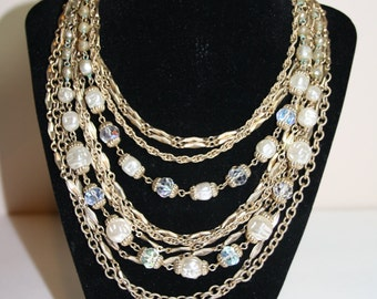 """Vintage Marino Gold Tone with Pearls and Iridescent Beads 10 Strands 15"""""""