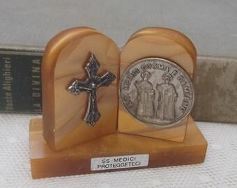 Vintage Italian Religious Item, Travel Shrine, Pocket Shrine, Crucifix, Home Altar, SS Medici