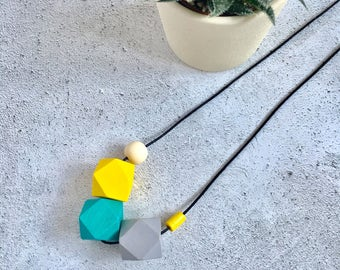 Wooden geometric necklace, yellow, grey, turquoise. Statement necklace.
