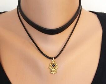 Leather Choker, Gold Hamsa Hand Necklace, Hamsa Charm Choker, Gold Jewelry, Evil Eye Hamsa Necklace, Boho Necklace,  Valentines Gift