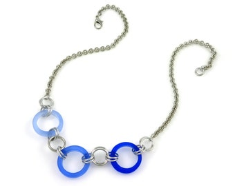 Blue Glass Rings Necklace
