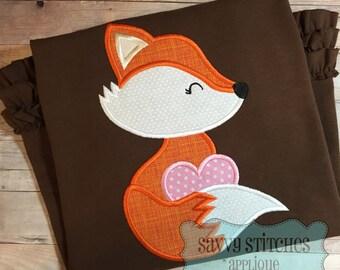 Valentine Fox Machine Embroidery Applique Design