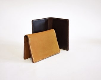 Handmade Leather Bifold Card Money Holder Wallet Minimal Simple