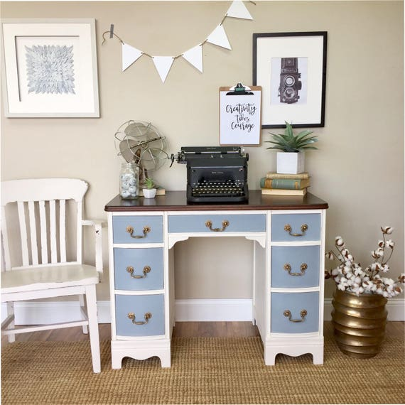 Distressed Desk - Beach House Furniture - Small Writing Desk - Coastal Furniture - Vintage Office Furniture - Small White Desk