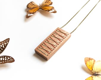 Handmade eco wooden necklace rectangular embroidery thread Organic vegan geometric natural wood Minimalist jewelry natural gift boho chic