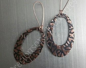 Copper Embossed Artisan  Earrings