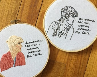 Jurassic Park Embroidery, Jurassic Park Art Work, Dr Ellie Sattler Embroidery Art Work, Jurassic Park Quote, Movie Quote, Movie Embroidery