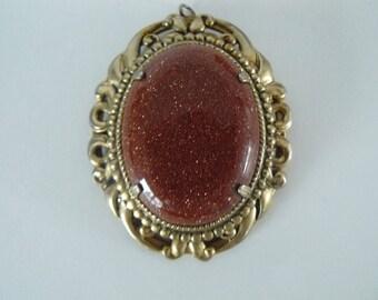 Adventurine  Necklace, Pendant, Brooch,  Glass Goldstone, Free Shipping