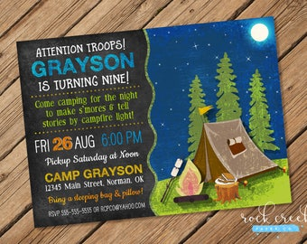 Camping Birthday Invitation, Campfire & S'mores Invitation, Camping Party, Campout Invitation, Printable Birthday Party Invitation