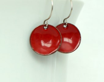 Red Enamel Disc Earrings - Enamel Jewelry
