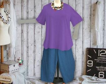 Plus sizes - US 18 - 34, UK 20 - 36, Shirt tail hem - WAVE style, jersey/cotton,purple