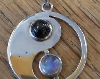 Vintage New Old Stock Yin and Yang Moonstone and Black Moonstone? Cats Eye? 925 Silver Pendant