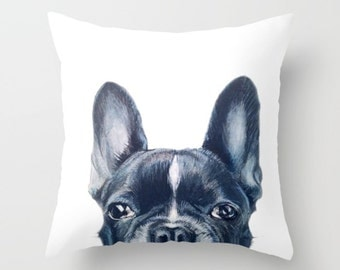 Pillow cover with insert. Original painting print design on both side. French bulldog, home decor ornament and decoration housewares