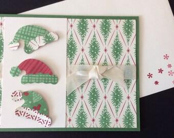 Christmas, Blank, Santa, Hats, Handmade, stampin up