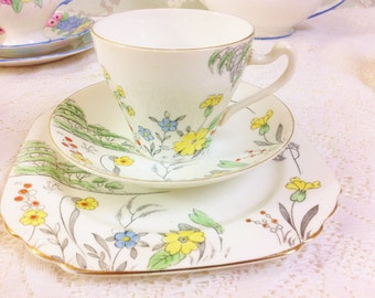 Hand Painted Tea Trio  Heathcote China