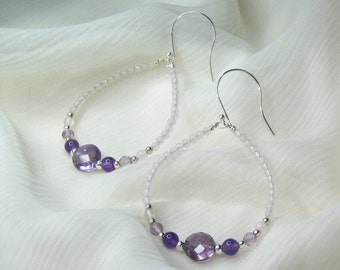 Amethyst / Rose Quartz / Sterling Silver Earrings - Genuine Natural Untreated Gemstone, French Wire, Hoop, Dangle