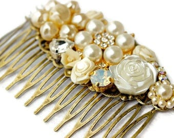 Bridal Collage Hair Comb,  Vintage Wedding Hair Comb, Collage Hair Comb, Bridal Hair Comb,