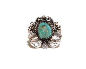 Vintage Turquoise Ring Sterling Silver Native American Navajo Indian Squash Blossom Leaves Handmade Jewelry Size 6