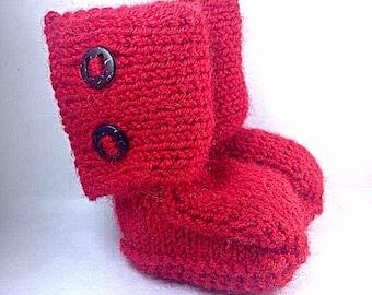 Merino Alpaca Silk Knit Baby Booties in Red