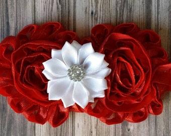 Red Shabby Flower Headband - Valentines Headband