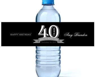 Aged To Perfection - Custom Water Labels - Milestone Birthday - Birthday Water Label - Water Bottle Label - Party Favor