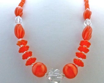 Orange Art Deco Glass Beads