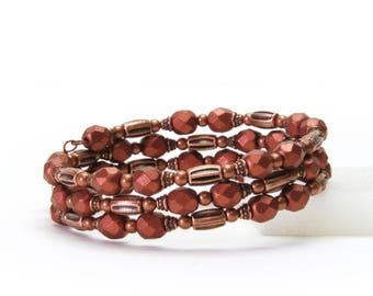 Antique Copper Memory Wire Bracelet - Matte Metallic Copper Czech Glass Beaded Bracelet with Antique Copper Accents