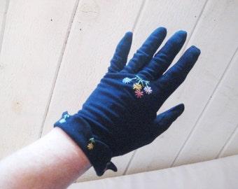 Navy blue faux suede gloves, short formal gloves, embroidered evening gloves, 70s, party gloves, dark navy blue, 1476