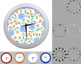 Blue Pastel Floral Wall Clock, Pretty Flower Design, Classic, Customizable Clock, Round Wall Clock, Your Choice Clock Face or Clock Dial
