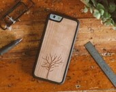 Wood iPhone 7 Case, Tree Design Engraved iPhone 7 Case - SHK-C-I7-TREE