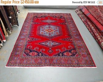 SPRING SALE 1990s Hand-Knotted Room-Sized Wiss/Viss Persian Rug (3555)