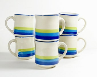 Set of Blue Gradient Coffee Mugs - JMP Casualstone - Set of 6