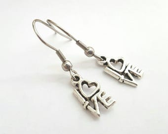 Silver LOVE Earrings with Stainless Steel Earwires - Tibetan Silver