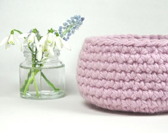 Crochet Basket Vanity Desk Organizer / Housewarming Gift / Wedding Gift