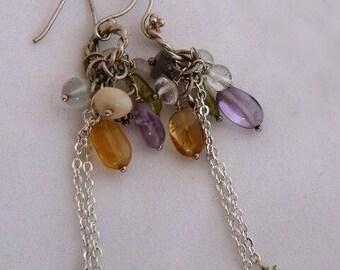 Amethyst - Sterling Silver – Earrings – Dangle – Cluster - Gemstones
