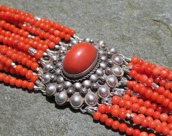 Vintage Coral Multi Strand Bracelet, Repurposed Brooch, Vintage 800 Silver Jewelry, Coral Bracelet, Vintage Multistrand Gemstone Bracelet