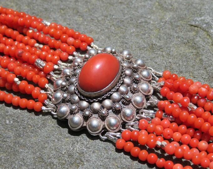 Featured listing image: Vintage Coral Multi Strand Bracelet, Repurposed Brooch, Vintage 800 Silver Jewelry, Coral Bracelet, Vintage Multistrand Gemstone Bracelet