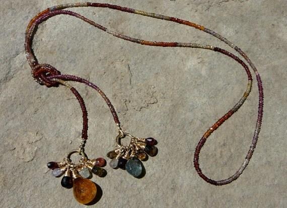 Tunduru, Gemstone Bead Lariat, Lariat Necklace, Gemstone Necklace, Gemstone Jewelry, Garnet Necklace, Garnet Jewelry, Mozambique Garnet