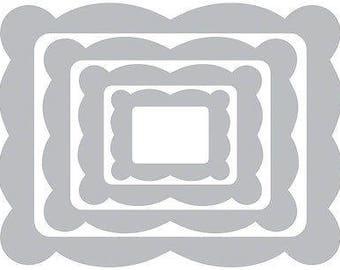 Sizzix Framelits Dies 4/Pkg-Scallop Frame Rectangle