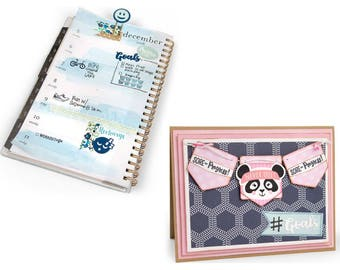 Sizzix - Framelits Die Set 12 Pack with Stamps - Health & Fitness Planner by Katelyn Lizardi