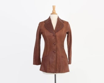 Vintage 70s LEATHER JACKET / 1970s GLASSWATER Brown Leather Fitted Jacket Xs - S
