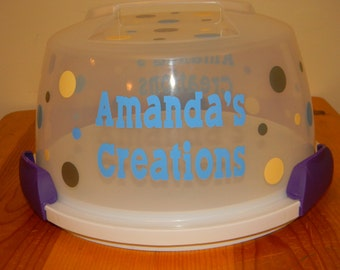 Personalized Polka Dot Cake Carrier
