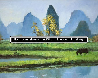 Oregon Trail Art, Ox Wanders Off, Oregon Trail, Dysentery, Oxen, Pixel Art, 8-Bit, Repurposed Art, Apple, Thrift Store Art, Upcycle