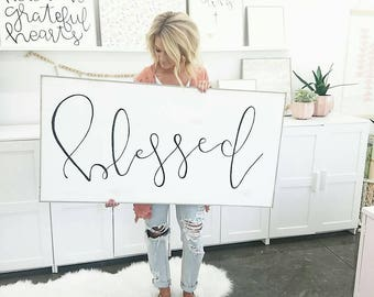 XL BLESSED wooden sign in black and white