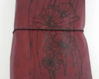 Genuine Leather Travel Journal with Poppy Print