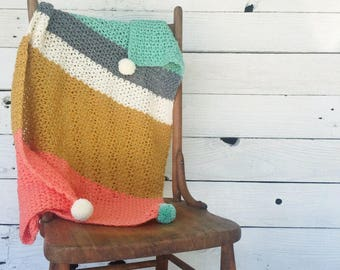 Color Block Blanket : Crochet Colorful Stripped Pom Baby Blanket