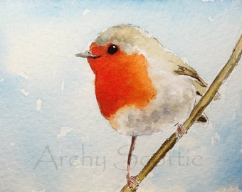 Robin Bird,   Art Print 8 X 6 INCH #86
