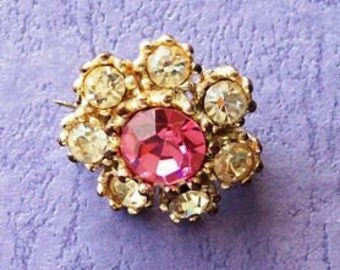 1980 Vintage Pink and White DiamanteTiny  Brooch